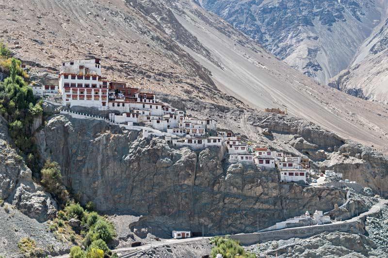 Il monastero buddista di Diskit, arroccato sulle montagne della Nubra Valley, Ladakh